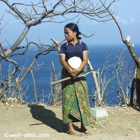 Junge Frau mit Kokosnuss am Hang, auf Lombok