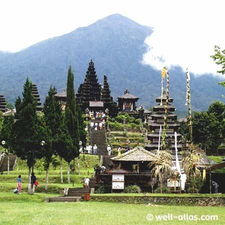 Besakih temple on Bali, Volcano Gunung Agung in the background