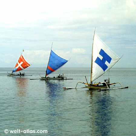 Drei heimkehrende Fischerboote auf ruhigem Meer, typische Segel ,Bucht von Senggigi