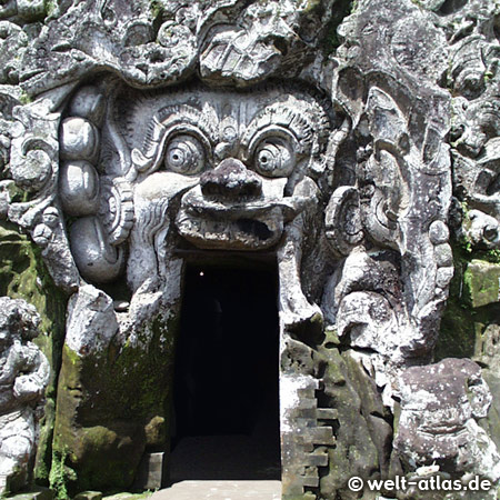 Demon face at the entrance to Elephant Cave Goa Gajah near Ubud