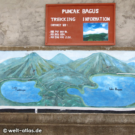 Motive of the two lakes Danau Buyan and Danau Tamblingan on a poster for trekking tours