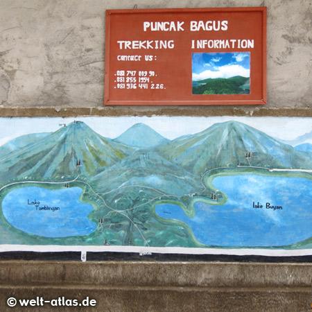 Motiv der beiden Seen Danau Buyan und Danau Tamblingan auf einem Plakat für Trekking-Touren