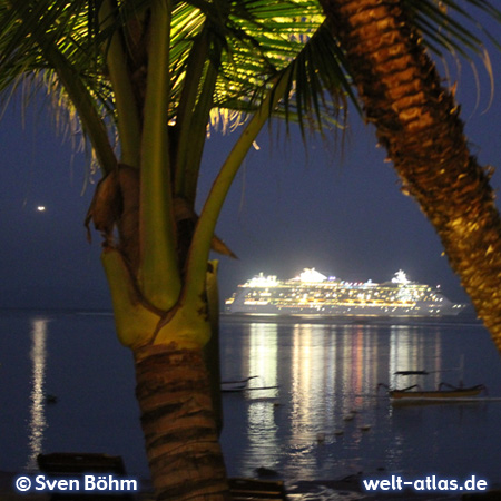 Cruise ship in front of the beach of Tanjung Benoa