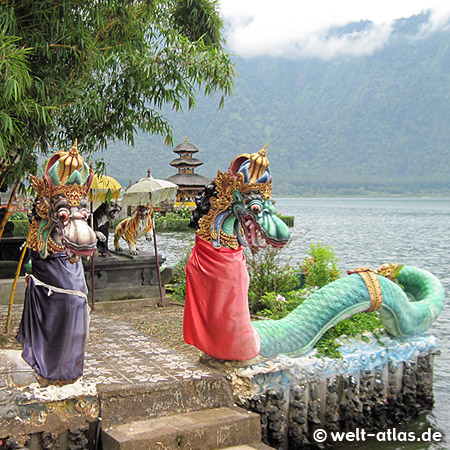 Colourful statues of important Hindu temple at Lake Bratan, Bali