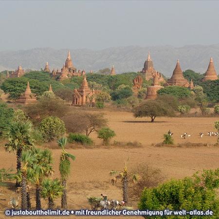 Tausende von Tempeln in der Ebene von Bagan am Irrawaddy