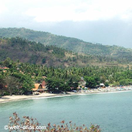 Bucht, Strand, Fischerboote,Bucht von Senggigi