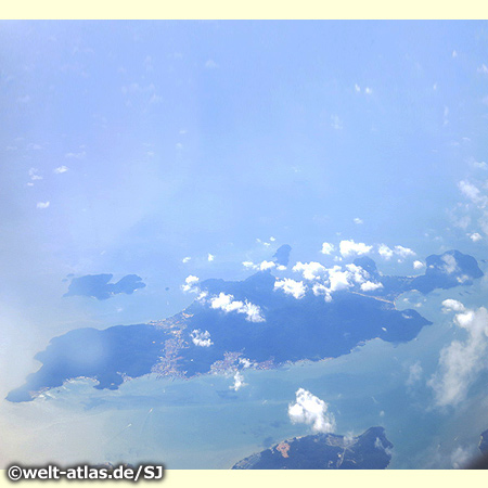 On the flight from Singapore to Penang you can look down at Pangkor Island in the Strait of Malacca