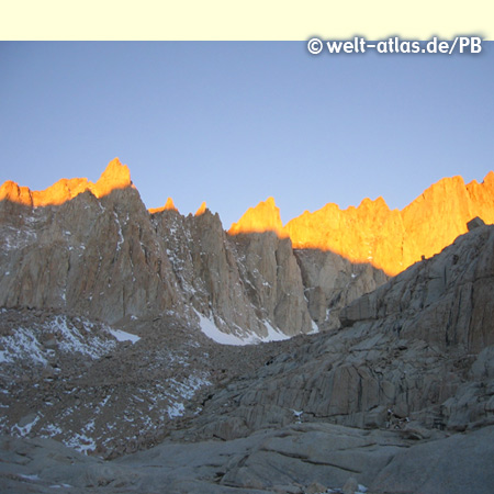Sun shining on Mount Whitney, California