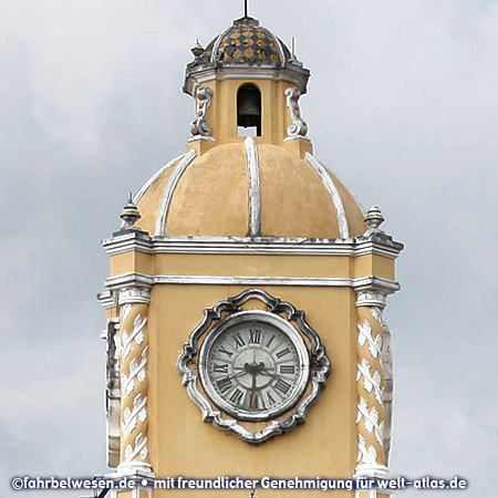 Clock and tower of the Arco de Santa Catalina in Antigua Guatemala