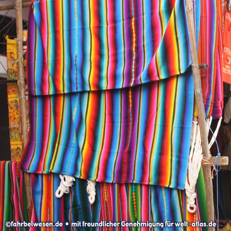 Traditional, colorful textiles on the market in Chichicastenango
