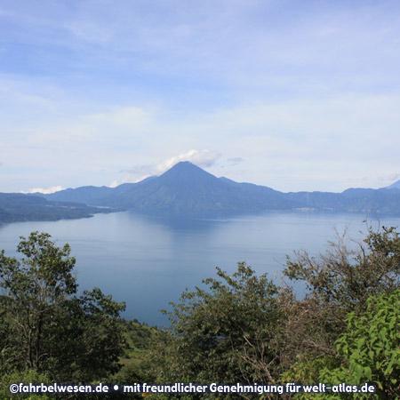 Volcanoes at Lake Atitlan, Panajachal, Guatemala