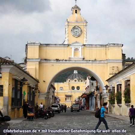 Famous landmark and sight of Antigua Guatemala is the Arco de Santa Catalina
