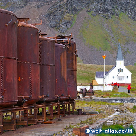 Whalers Church and old whale oil tanks, Grytviken