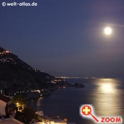 Foto von Praiano bei Vollmond, Amalfitana